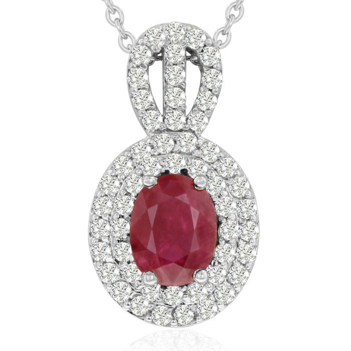 3.50 Carat Fine Quality Ruby & Diamond Necklace in 14K White Gold