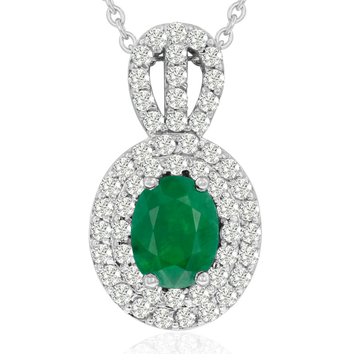 3.50 Carat Fine Quality Emerald Cut & Diamond Necklace in 14K Whi