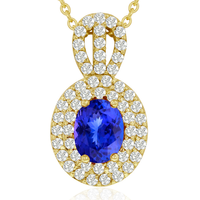 3.50 Carat Fine Quality Tanzanite & Diamond Necklace in 14K Yello
