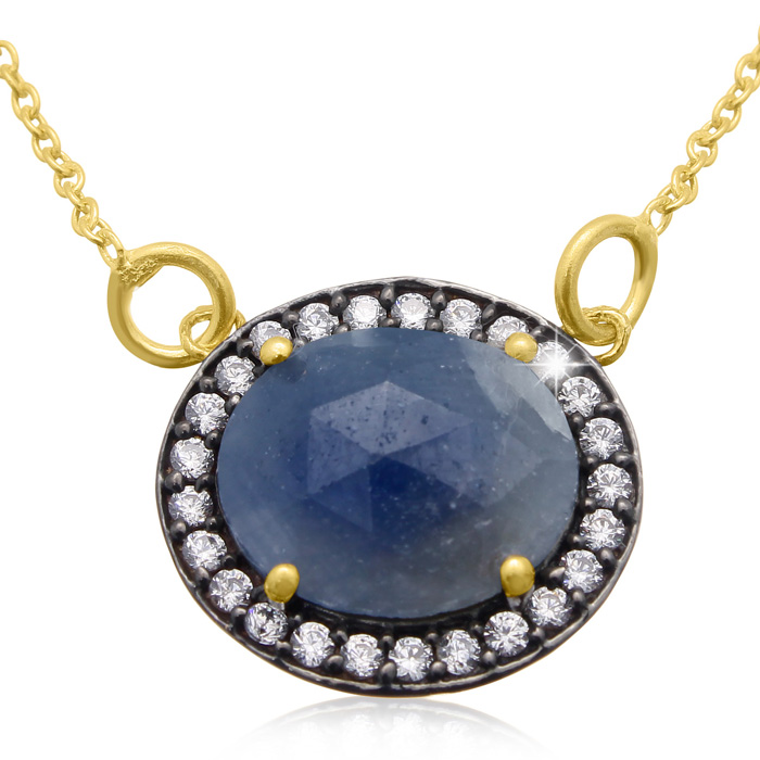 13 Carat Natural Blue Sapphire & CZ Necklace in 18K Gold Over Sterling Silve..