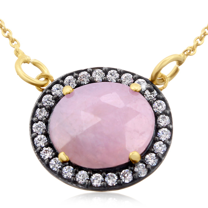 13 Carat Natural Pink Sapphire & CZ Necklace in 18K Gold Over Sterling Silve..