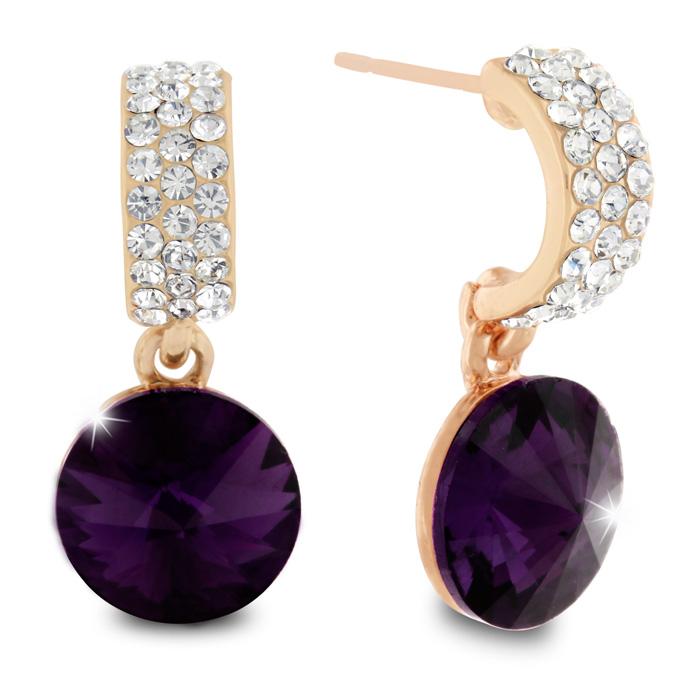 Purple Amethyst Swarovski Elements Dangle Earrings, Pushbacks by SuperJeweler