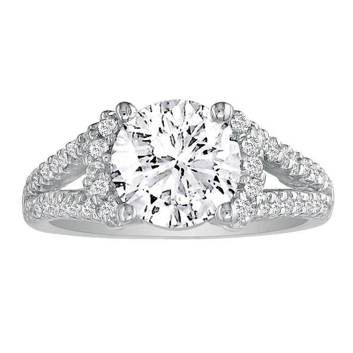 2.5 Carat Diamond Engagement Ring in 18K White Gold (I-J, I1-I2 C