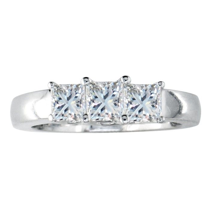 1 Carat Princess Cut Three Diamond Ring in 14k White Gold (H-I, S