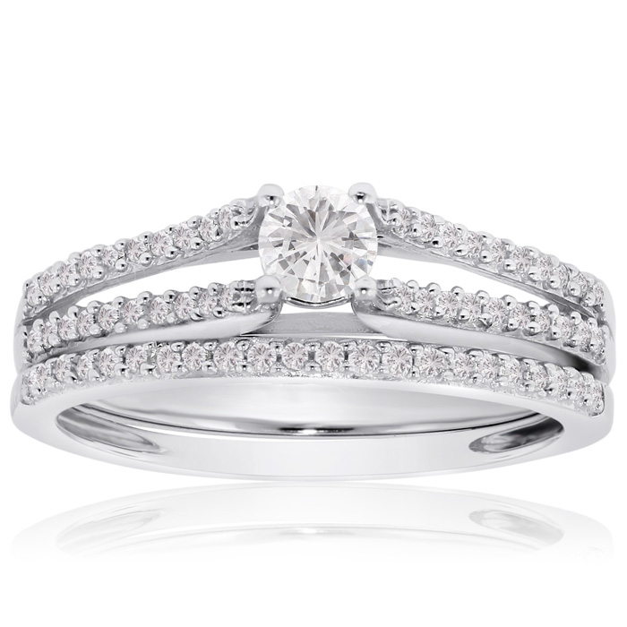 1/2 Carat Diamond Bridal Engagement Ring Set in 14K White Gold, G/H by SuperJeweler