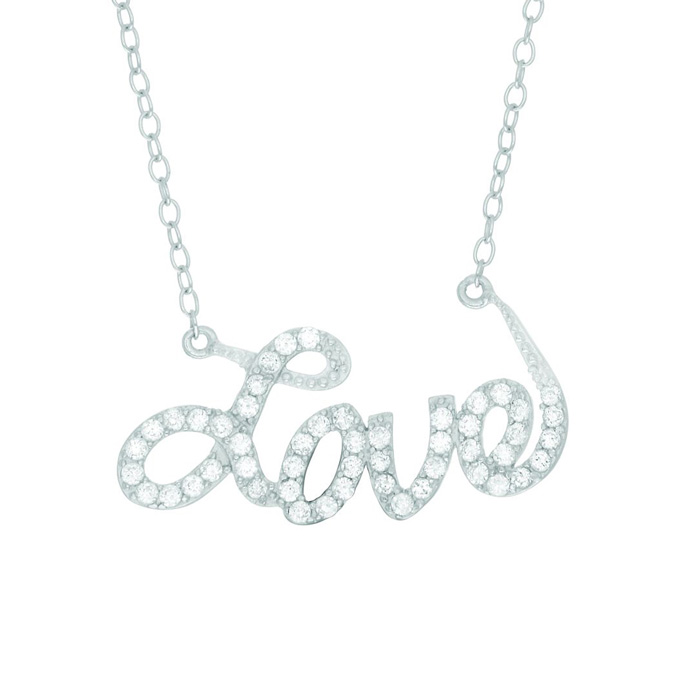 CZ Love Necklace-18 inches in Sterling Silver by Royal Chain