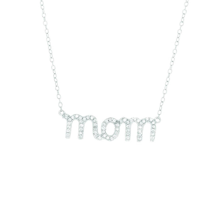 CZ Mom Necklace-18 inches in Sterling Silver by Royal Chain