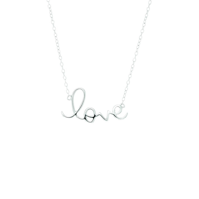 Sterling Silver Love Necklace-18 inches by Royal Chain