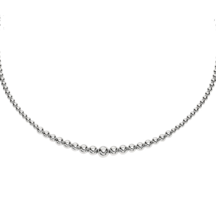 Graduated Bead Necklace, 6mm-12mm Sterling Silver by Royal Chain