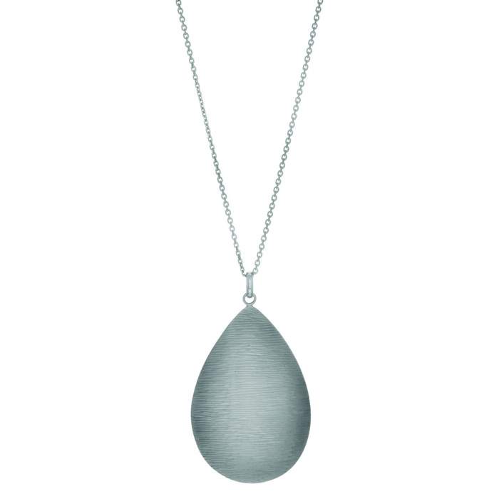 Tear Drop textured wood finish Sterling Silver necklace 18 inches