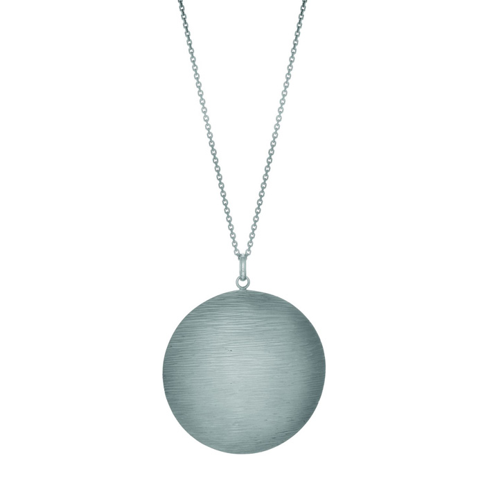 Round textured wood finish Sterling Silver necklace 18 inches by
