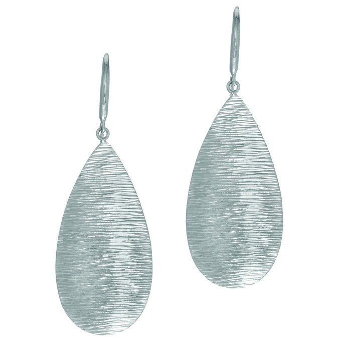 Tear Drop textured wood finish Sterling Silver earring by Royal Chain