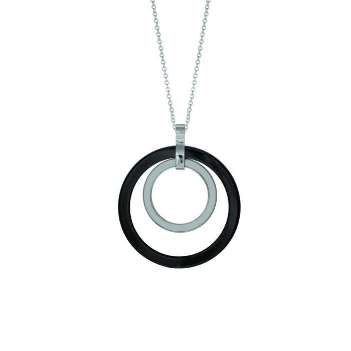 Geometric Double Circle Necklace, Stainless Steel 18 inches by Ro