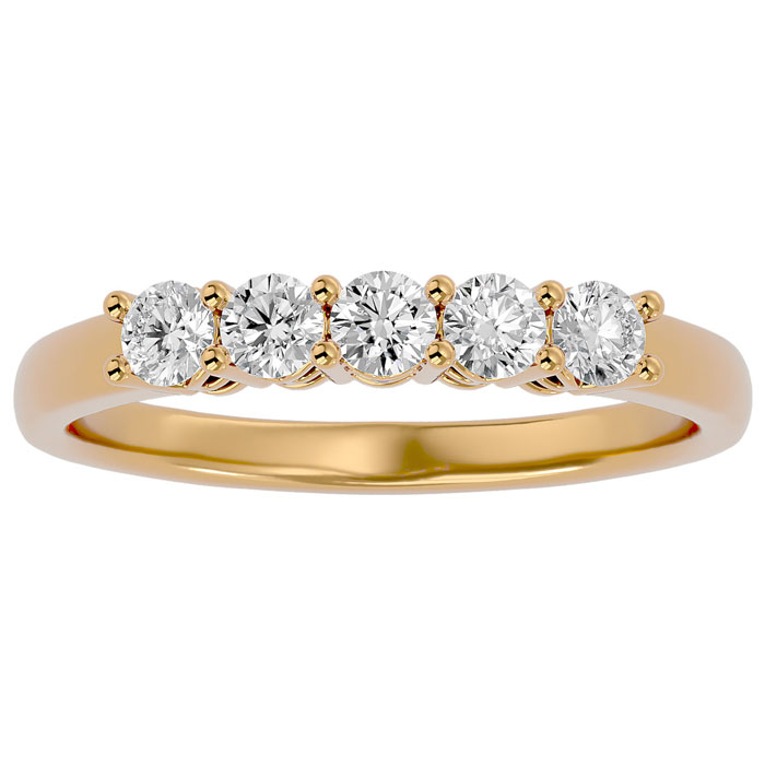 1/2 Carat Five Natural Diamond Wedding Band in Yellow Gold, J/K by SuperJeweler