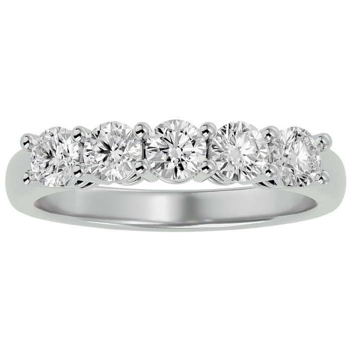 1 Carat Five Diamond Prong Set Wedding Band in 10k White Gold, J/