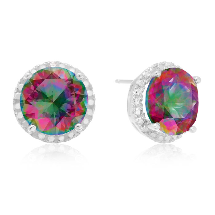7 Carat Mystic Topaz Halo Stud Earrings in Sterling Silver by Sup