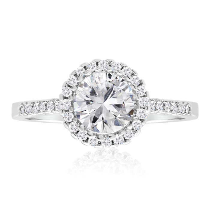 Image of 2 Carat Cubic Zirconia Halo Engagement Ring