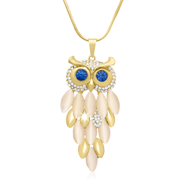 18K Gold Overlay Crystal Owl Necklace, 28 Inches by SuperJeweler