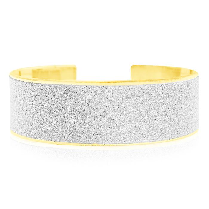 Image of 18 Karat Gold Overlay Swarovski Dust Cuff Bangle Bracelet