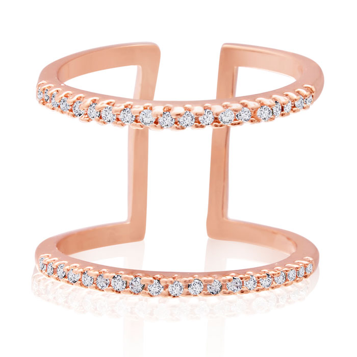 Micropave Crystal Spacer Ring, Rose Gold Overlay by SuperJeweler