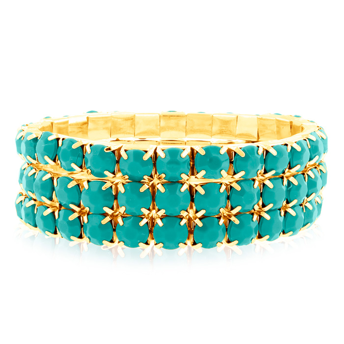 Set Of Three 60 Carat Turquoise Crystal Bracelets, 18K Gold Overl