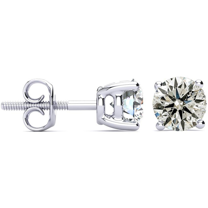 1.5 Carat Diamond Stud Earrings in 14k White Gold, J/K by SuperJe