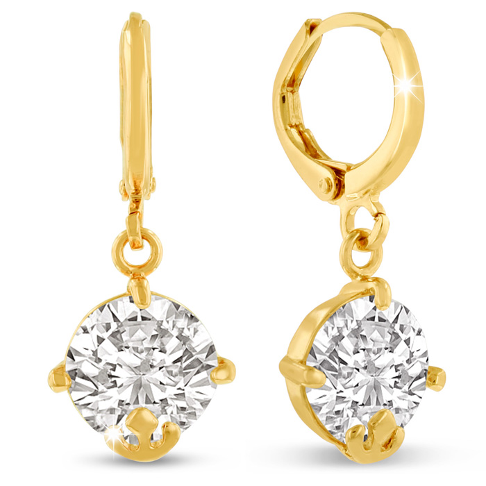5 Carat Swarovski Elements Crystal Hoop Earrings in Yellow Gold Overlay by SuperJeweler