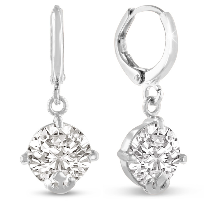 5 Carat Swarovski Elements Crystal Hoop Earrings in Silver by Sup