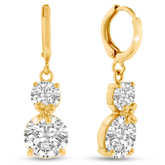 Elegant Swarovski Elements Crystal Hoop Earrings in Yellow Gold O