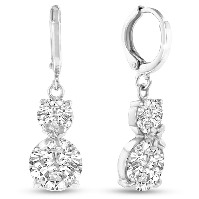 Elegant Swarovski Elements Crystal Drop Earrings in Silver, 1 Inc