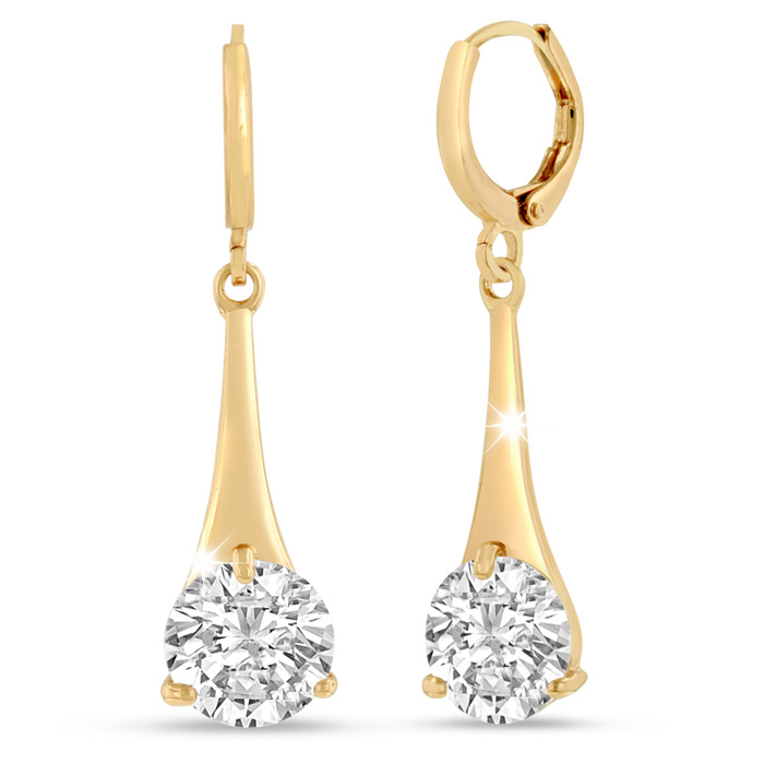 5 Carat Swarovski Elements Crystal Drop Earrings in Gold Overlay 1.25 Inches by SuperJeweler