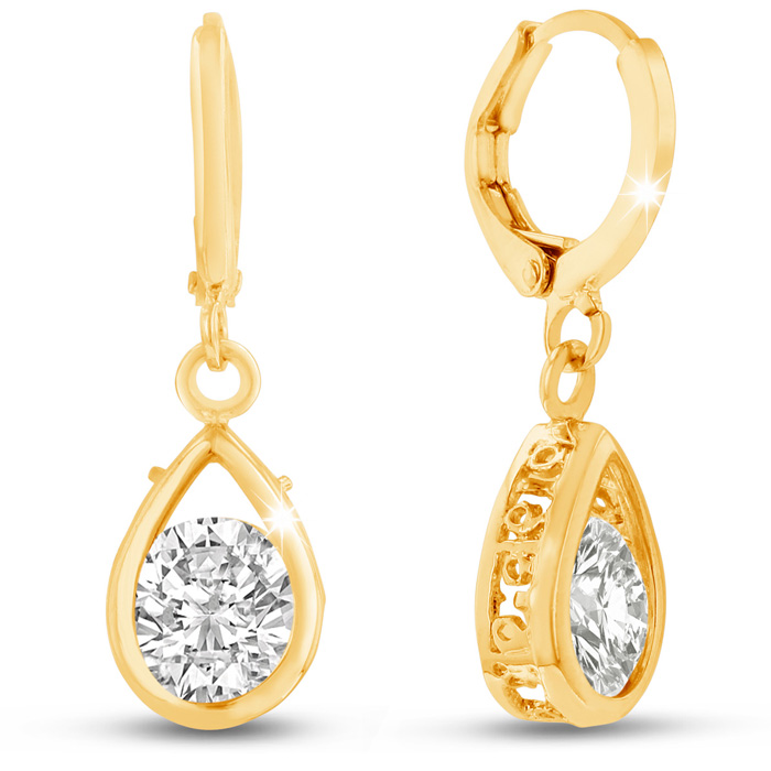 Swarovski Elements Crystal Pear Shape Drop Earrings in Yellow Gold Overlay, 3/4 Inch by SuperJeweler