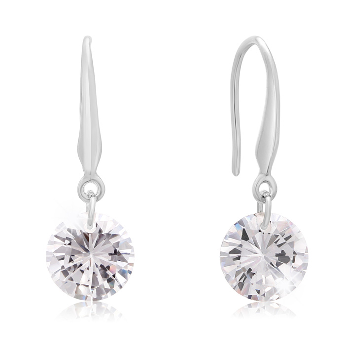 Floating Swarovski Elements Dangle Earrings in Silver, 1 Inch by
