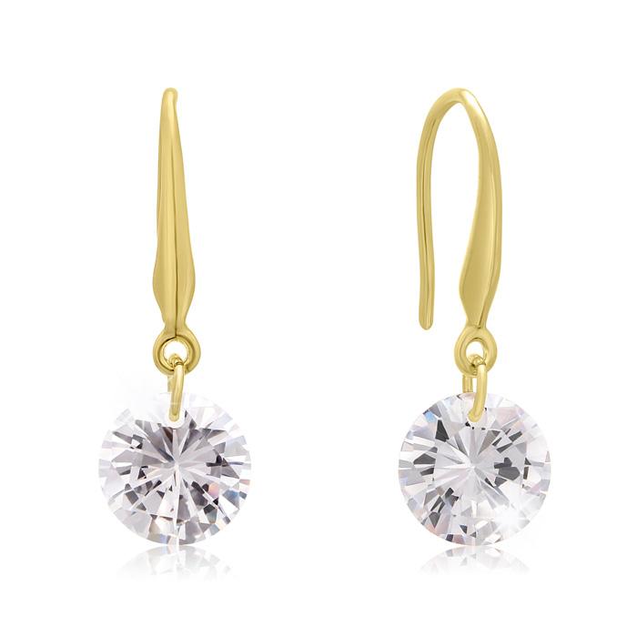 Floating Swarovski Elements Dangle Earrings in Yellow Gold, 1 Inch by SuperJeweler