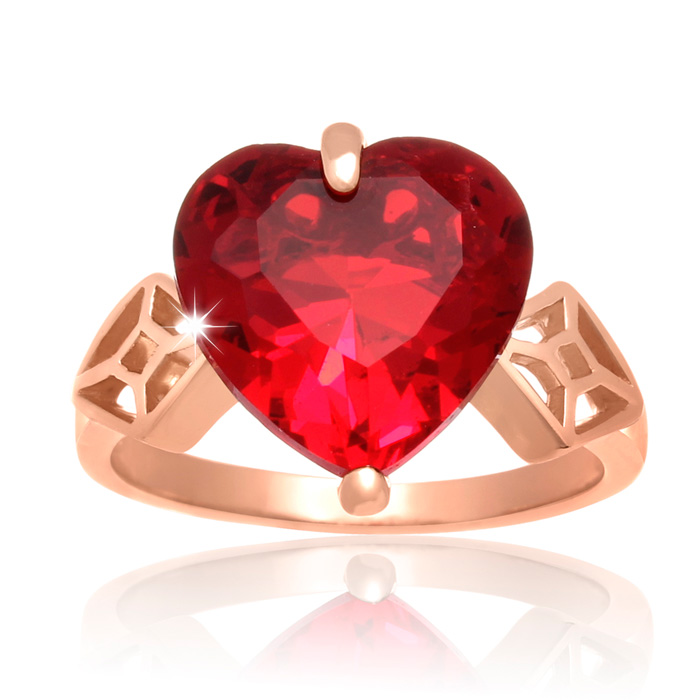 7 Carat Crystal Ruby Heart Ring in 18K Rose Gold Overlay by Super