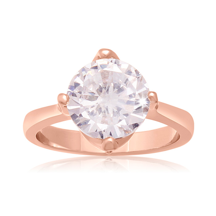 3 Carat Crystal Rotated Prong Engagement Ring, Rose Gold Overlay