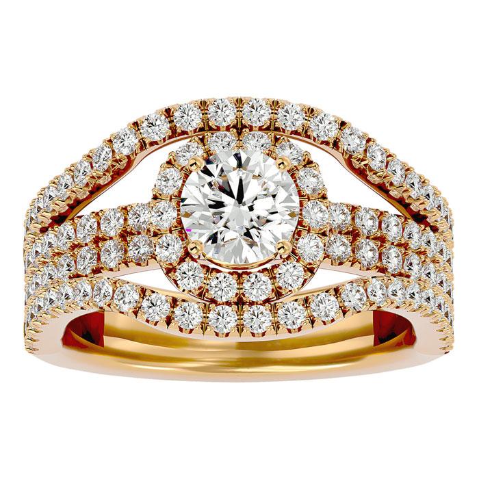 2 Carat Halo Diamond Engagement Ring in 14K Yellow Gold (8.3 g) (