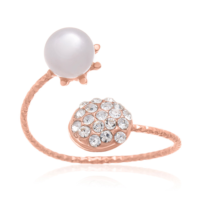 Pearl & Pave Crystal Bangle Ring in Rose Gold Oerlay by SuperJewe