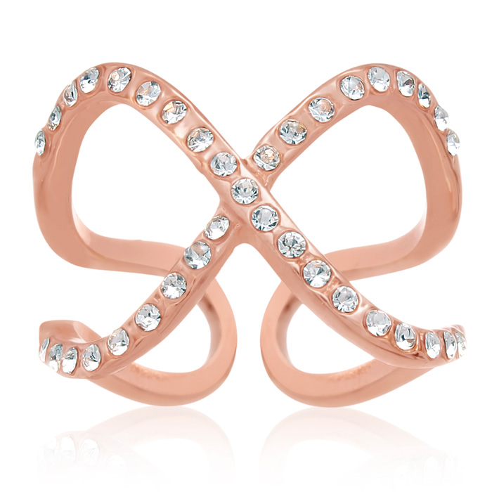 Pave Crystal X Ring in Rose Gold Overlay by SuperJeweler