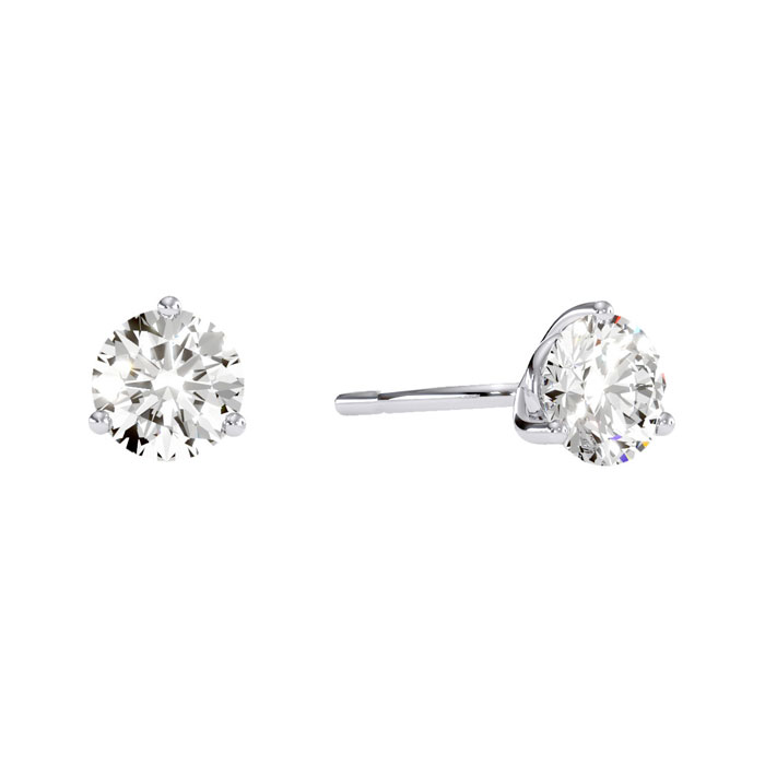 1/2 Carat Round Diamond Stud Earrings in 14k White Gold w/ Martin