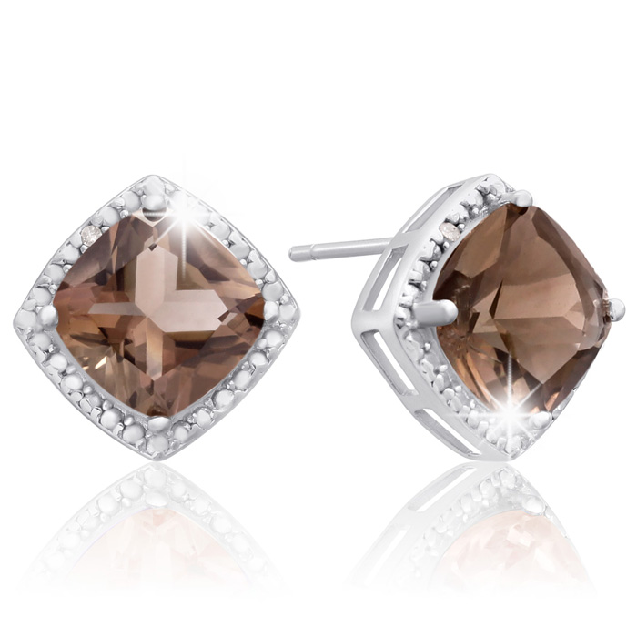 3 3/4 Carat Cushion Cut Smoky Quartz & Diamond Earrings in Sterli