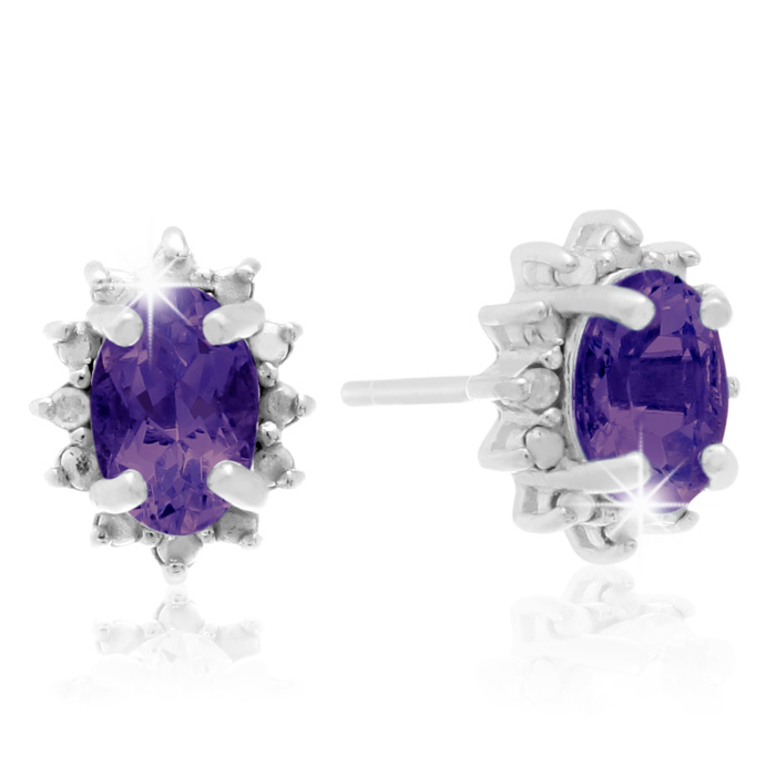 1 Carat Amethyst & Diamond Earrings in Sterling Silver, J/K by Su