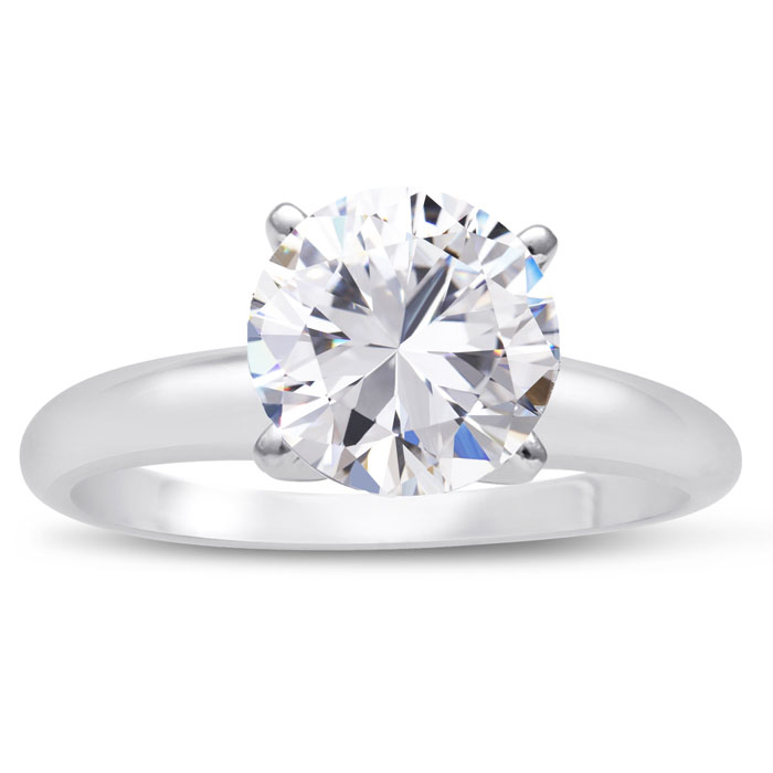 2 Carat Round Cut Diamond Solitaire Engagement Ring, H-I Color, S