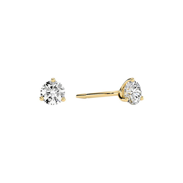 1/3 Carat Natural Genuine Diamond Stud Earrings in Martini Settin