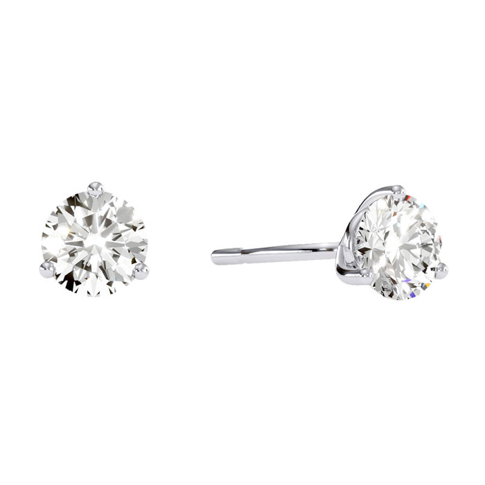 1.5 Carat Natural Genuine Diamond Stud Earrings in Martini Settin