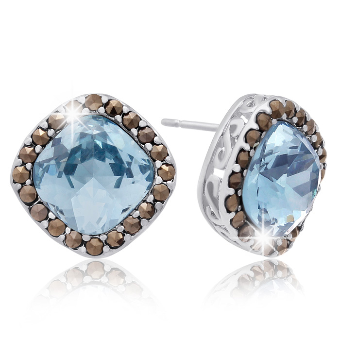 4 Carat Cushion Cut Crystal Aquamarine & Marcasite Stud Earrings,