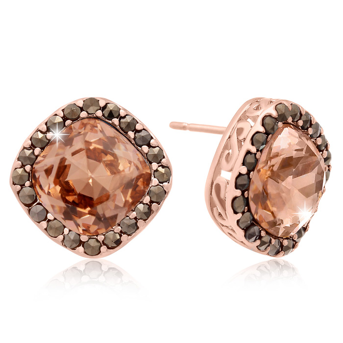 4 Carat Cushion Cut Crystal Morganite & Marcasite Stud Earrings,