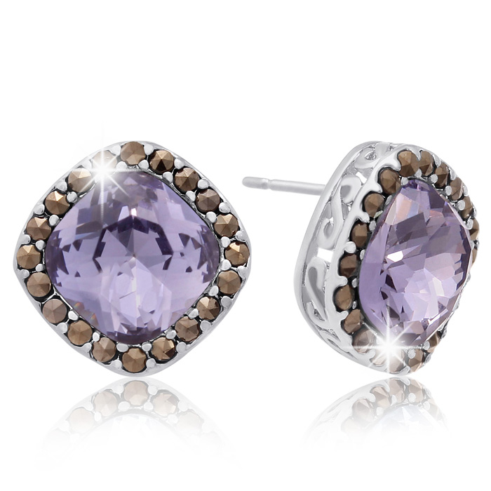 4 Carat Cushion Cut Crystal Tanzanite & Marcasite Stud Earrings,