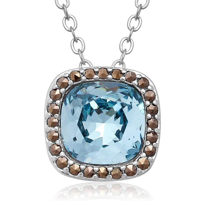 4 Carat Cushion Cut Crystal Aquamarine & Marcasite Necklace, 18 I