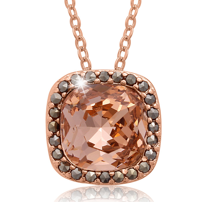 4 Carat Cushion Cut Crystal Morganite & Marcasite Necklace, 18 In